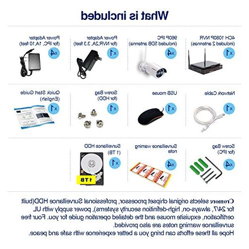 All in Monitor Security Camera System WiFi CCTV 4CH 4pcs 960P Bullet IP IR Plug and with 1TB Hard Drive