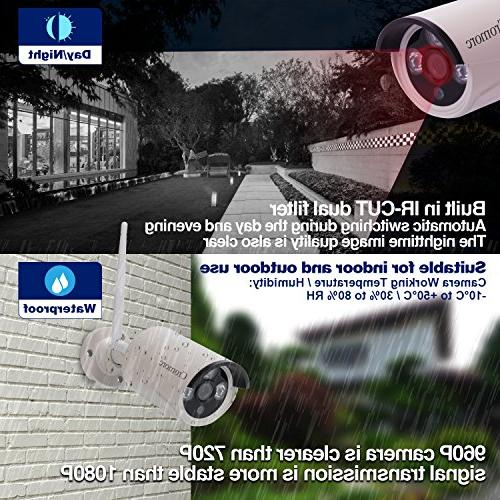Monitor Wireless Security System WiFi 4CH 4pcs 960P Bullet IP IR Night Plug and Play 1TB Drive