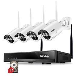 ZOSI 4PC Megapixel 720P Wireless IP Camera System 100ft  Nig