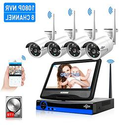 "All in one with 10.1"" Monitor Wireless Security Camera Syste"