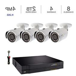 Q-See 8 Channel, 4 Camera 4MP HD IP NVR with 2TB HDD