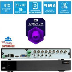 Q-See 8 Channel DVR 8CH QTH87 5MP Multi Format 2TB WD Purple