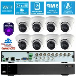 Q-See Security System 8 Cameras Turret 8 CH 2TB Hard Disk Pu
