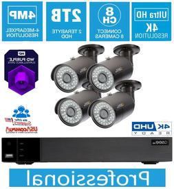 Q-See Security System 8CH Kit 4 Cameras  4MP 2TB Purple Hard