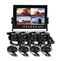 JOINLGO 12-24VDC 9 inch Quad Split 4 Channel Video View Car