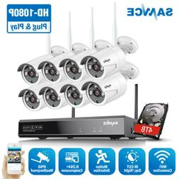 SANNCE 1080P 8CH NVR Wireless 2MP WIFI Security IP Camera Sy