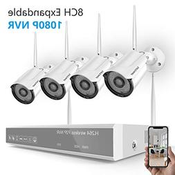 Security Camera System Wireless,Safevant 8CH 1080P Wireless