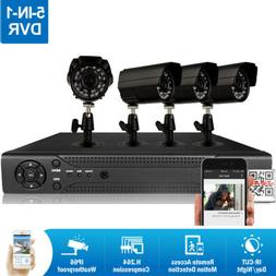4CH H.264 5in1 DVR 4 720P IR-CUT Surveillance Camera Home Se