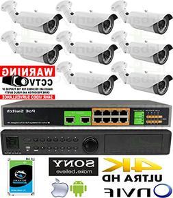 USG Business Grade Sony IMX323 Chip Ultra 4K 8 Camera Securi