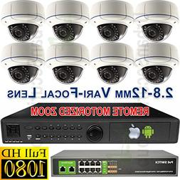 USG New Model 8x Camera 1080P HD IP CCTV Kit with Motorized