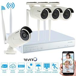 KKmoon 4-Channel 720P WIFi NVR Video Security System DVR Kit