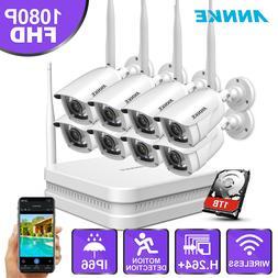 ANNKE Wireless 8CH 1080P NVR 8x 2MP WIFI IR CCTV IP Security