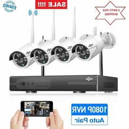 HisEEu 4-Channel HD 1080P Wireless Security Camera System,4P