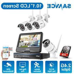 SANNCE Wireless HD 1080P 4CH NVR 10.1'' LCD Monitor CCTV Sec