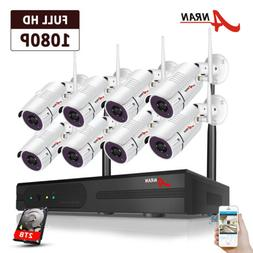 Wireless Security Camera System 1080P Outdoor with 2TB HardD