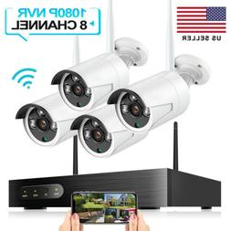 Wireless Security WIFI Camera System 1080P 8CH Outdoor 4PCS