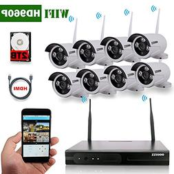 OOSSXX 8-Channel HD 1080P Wireless System/IP Security Camera