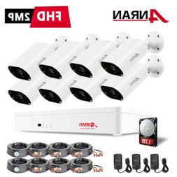 Zoohi 1080P 8CH Security Camera Outdoor System Waterproof Ho