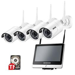 ZOSI 4CH 1080p Wireless Security Camera with Monitor,12.5 In